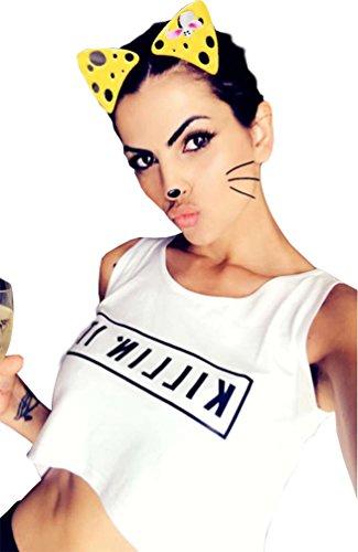 Yitan Women Graphic Sleeveless Tank Crop Top Teen Girls Cute Gym Tee Shirt White Small
