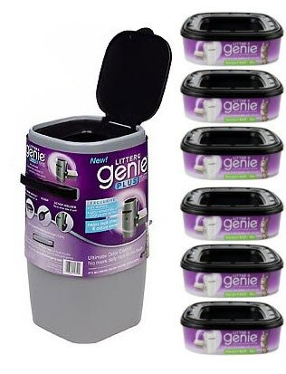 Litter Genie Plus Silver Cat Litter Disposal System and 6 Extra Refills by Litter Genie