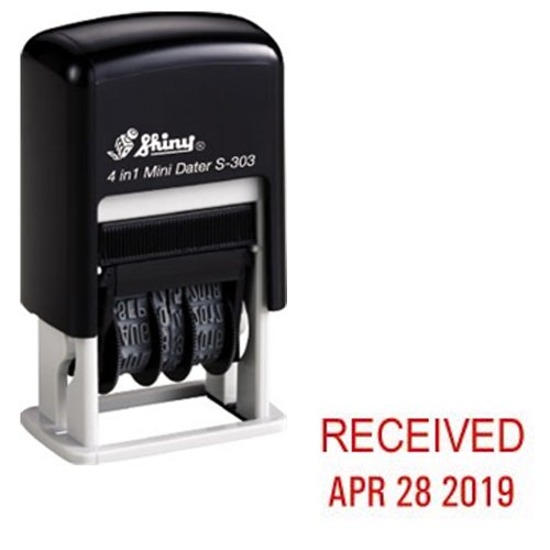 Shiny Self-Inking Rubber Date Stamp - RECEIVED - S-303 - RED INK (42511-R-RECEIVED)