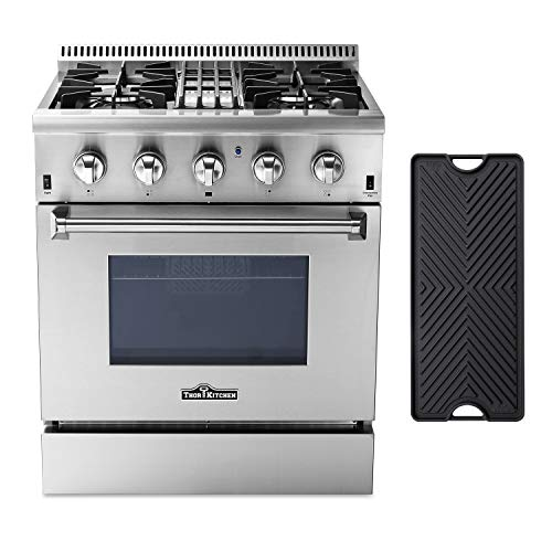 Thor Kitchen HRD3088U 30'' Dual Fuel Range Freestanding Professional Style with 4.2 cu.ft Convection Oven in Stainless Steel, 4 Burners, Cast-Iron Reversible Griddle