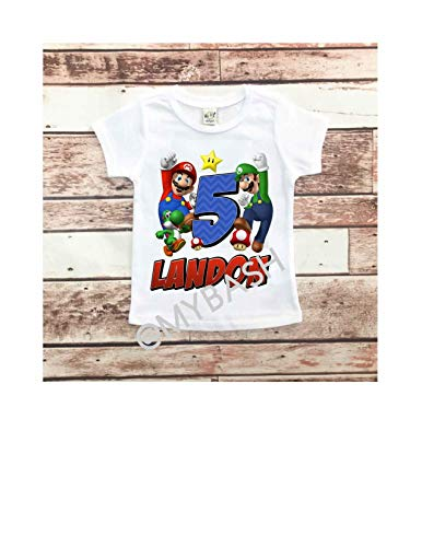 Personalize MARIO Birthday T-Shirt - Birthday Outfit - w/Name & -