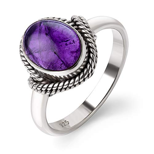 Chuvora 925 Oxidized Sterling Silver Natural Amethyst Gemstone Oval Rope Edge Vintage Band Ring Size 6