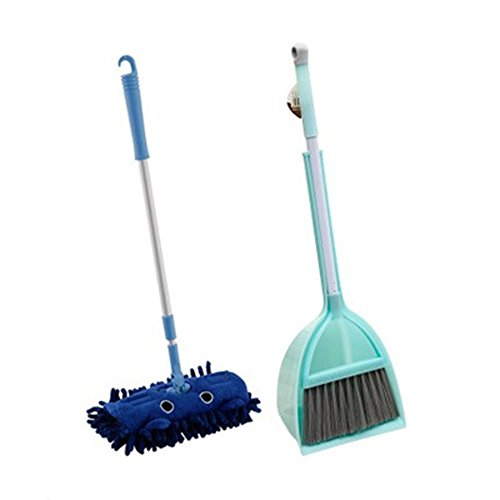 Xifan Mini Housekeeping Cleaning Tools for Children,3pcs Include Mop,Broom,Dustpan (Blue Mop+Frash Blue Broom&Dustpan) Child Broom