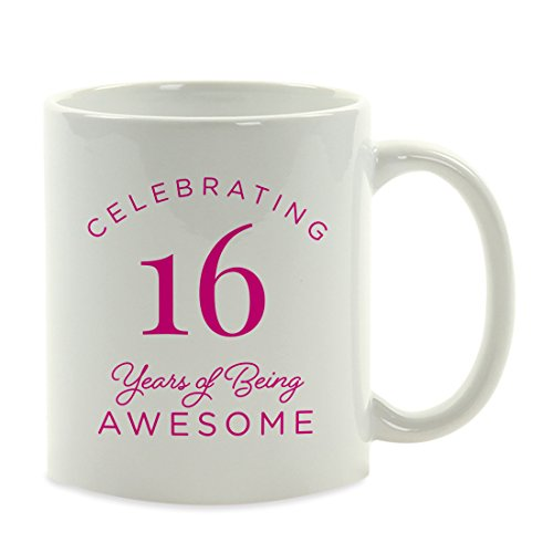 Andaz Press 11oz. Milestone Birthday Funny Coffee Mug Gag Gift, Celebrating 16 Years of Being Awesome, 1-Pack, Sweet 16 Girls Birthday Unique Gift Ideas for Her]()