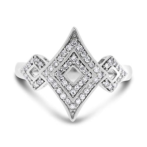 0.35 Ct. Natural Diamond Fancy Cocktail Ring in Solid 10k White Gold ()