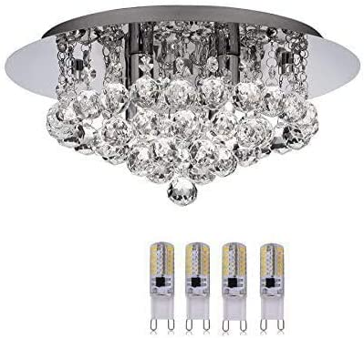 Modern Bathroom Ip44 Rated 4 Light Crystal Flush Light With Chrome Backplate And 4 X 3w Bright Led Lamps 4404 4cc Led Energy Saving Version Amazon Co Uk Lighting