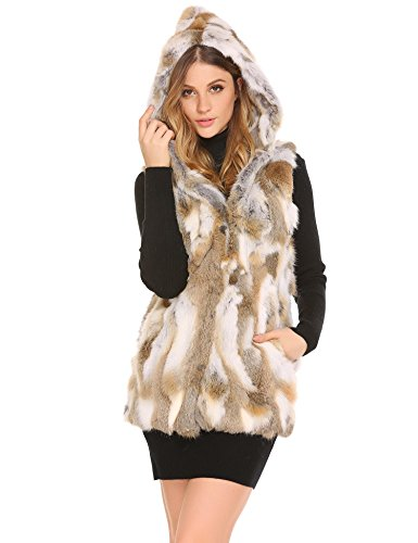 Bifast Women's Fall Genuine Rabbit Fur Knitted Long Vest With Collar Pocket (Genuine Rabbit Fur Vest)