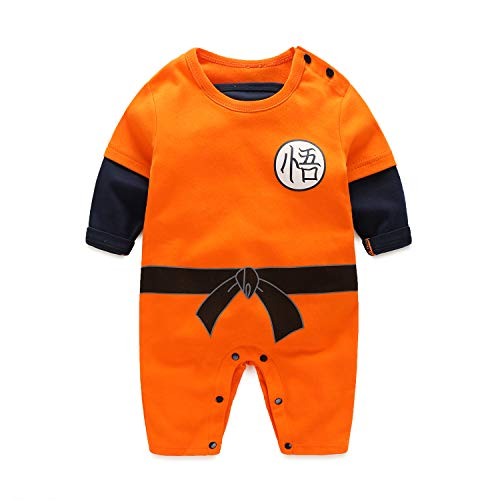 Beal Shopping Cosplay Long Sleeve Baby Boy and Girls Goku Rompers Costume Jumpsuit Baby Clothes, Orange1, 6-9 Monthes]()