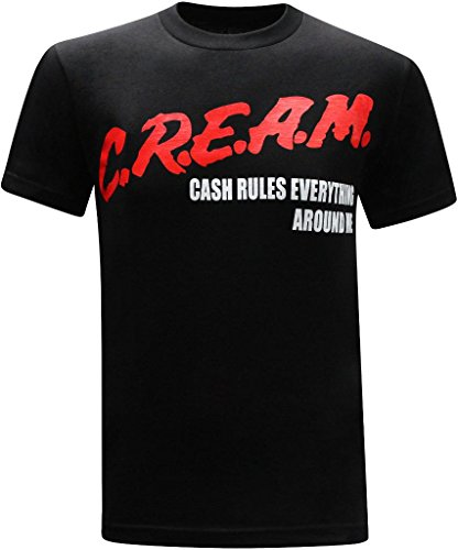 tees geek C.R.E.A.M. Cash Rules Everything Around Me Men's T-Shirt - (XX-Large) - Black