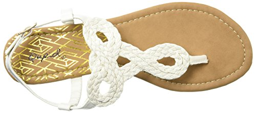 Thong Sandal Flat White Detail Women's Braid Qupid g0Wnxq454