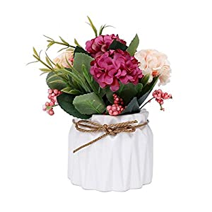 Pawaca Artificial Flower Ceramic Vases - Silk Flowers in Vase - Creative Ceramic Basin Hydrangea Flower Bouquet Pot Flowerpot Home Living Room Wedding Party Garden Decor 66