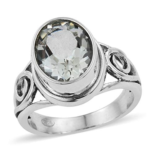925 Sterling Silver Oval Green Amethyst Statement Ring for Women Jewelry Size 7 Cttw 1.9