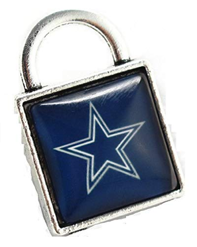 BAS Dallas Cowboys Square Metal Lock Charm with Glass Pendant for Bracelets or Necklaces 1 inch by 1 inch