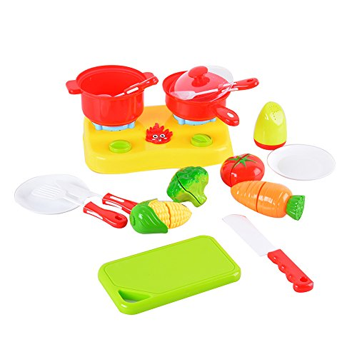 GlowSol Pretend Play Kitchen Toy Food Set Cutting Vegetables with Cookware and Basket 18 pcs (Fireman Dress Up Accessory Kit)
