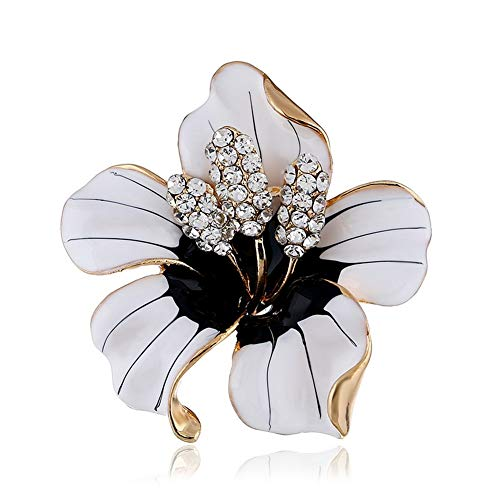 SKZKK Fashion Enamel Lapel Pin Lily Flower Brooch Pins,Broaches and Pins for Women Crystal Diamond Alloy Plating White (Pin Brooch Lily)