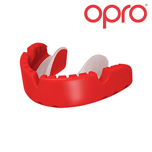 OPRO Gold Level Mouthguard for Braces for Ball, Combat and Stick Sports - 18 Month Dental Warranty (For Ages 7+) - Red