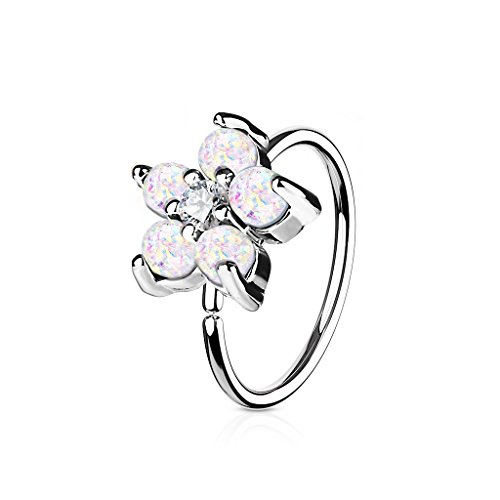 Dynamique Opal Glitter Set Flower CZ Center 316L Surgical Steel Hoop Ring for Nose & Ear ()