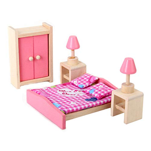 (Dollhouse Miniature Wooden Bed Wardrobe Beside Table Set Bedroom Furniture)