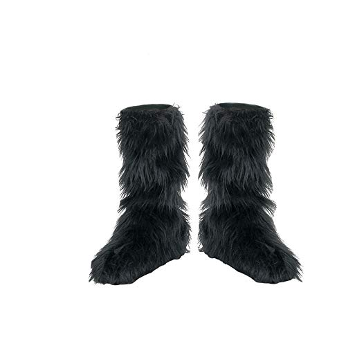 D/Ceptions 2 Black Furry Boot Covers Costume Accessory, One Size Child