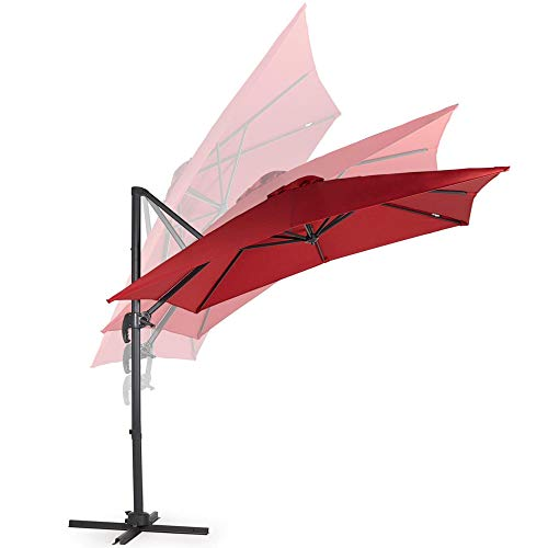 VonHaus Offset Roma Umbrella with UV50 Protection Cantilever Parasol Sun Shade with Tilt Rotate Functions Square Parasol Shape Air Vent Garden Patio Decking Outdoors Furniture
