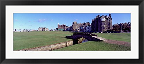 Footbridge in a golf course, The Royal and Ancient Golf Club of St Andrews, St. Andrews, Fife, Scotland by Panoramic Images Framed Art Print Wall Picture, Black Frame with Hanging Cleat, 33 x 15 inches