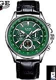 HWCOO Relojes mecánicos LIGE de alto grado de tres ojos seis correa de aguja reloj de los deportes de negocios casual reloj de los hombres de cuarzo de moda (Color : 3)