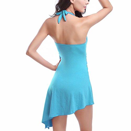 Zhhlaixing Charming Women Swim Dress with Short Swimsuit 2 in 1 Unique Design Beachwear Lake Blue