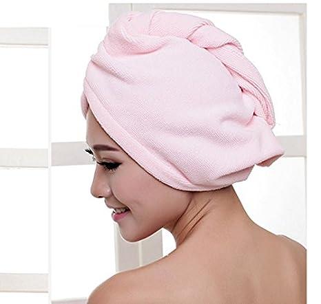 Fengh Toalla de microfibra mágica de secado rápido para el pelo, color rosa: Amazon.es: Hogar