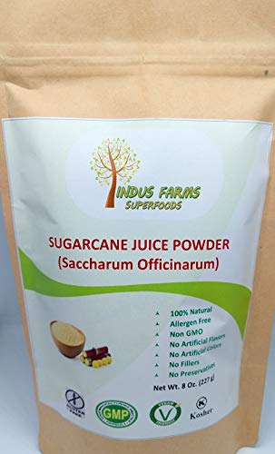 (100% Natural Sugarcane Juice Powder, 8 oz, Eco-friendly Resealable pouch, No Artificial Flavors/Preservatives/Fillers, Halal, Kosher, Vegan-Friendly, Non-GMO)
