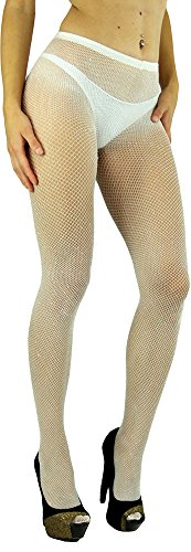 (ToBeInStyle Women's Spandex Seamless Glittery Fishnet Pantyhose Tights Hosiery - White With Silver Glitter - One Size:)