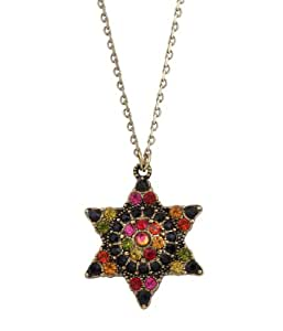 Victorian Style Michal Negrin Kabbalah Star of David Pendant Accented with Black and Multicolor Swarovski Crystals
