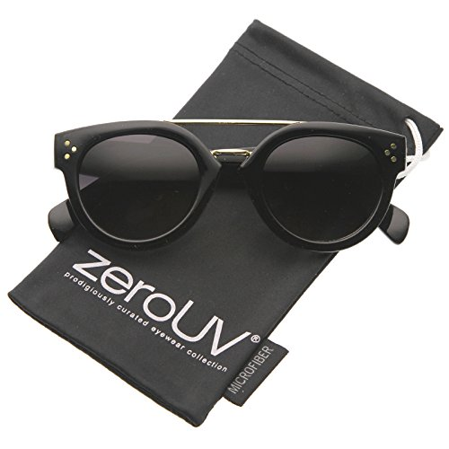zeroUV - Modern Double Bridge Brow Bar Wide Temple Round Horn Rimmed Sunglasses 60mm (Brow Bar)