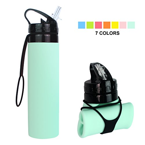 Fengyuan ll129 Collapsible Water Bottle, BPA-Free Leak-Proof Lightweight Silicone Sports Travel Camping, Mint Green