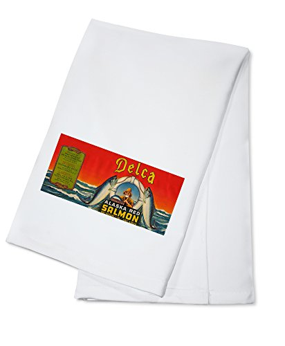 Delca Brand Salmon Label - Seattle, WA - Red (100% Cotton Kitchen Towel)