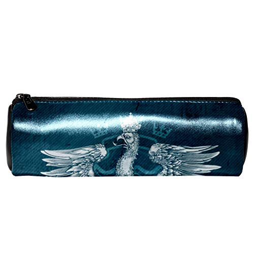 Anmarco Vintage Bird King Eagle Drawing Leather Pen Pencil Case Coin Purse Pouch Cosmetic Makeup Bag for School Work - Pen Eagle Vintage