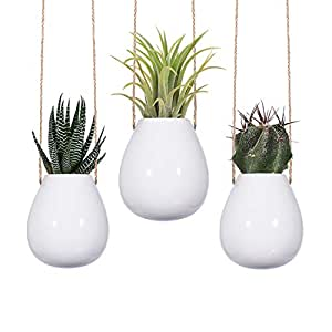 "2.5"" WHITE HANGING PLANTERS, Set of 3 Small White Ceramic Pots, Indoor Plants Hangers, Hanging Pot Holders, Hanging Ceramic Vase"