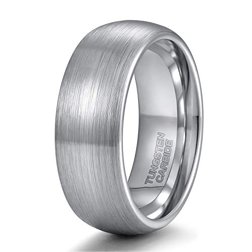 - 8mm Tungsten Carbide Ring for Men Dome Style Brushed Silver Engagement  Ring Comfort Fit Size 12.5