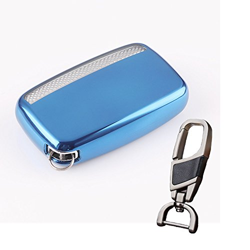 TPU SOFT smart case cover for Jaguar key chain fit Xf XE XJ F-PACE i-pace 4 Freelander 2 holder bag(Blue) by QINLING