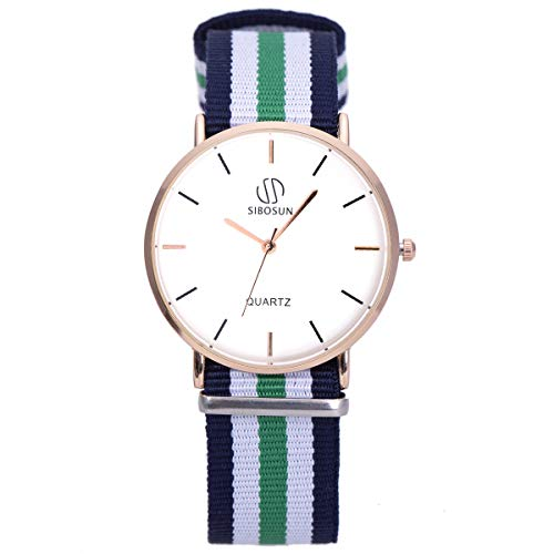 Wrist Watch Ultra-Thin Minimalist with Multi-Color Stripe Band SIBOSUN Men Quartz Fashion Classic Strap Analog…