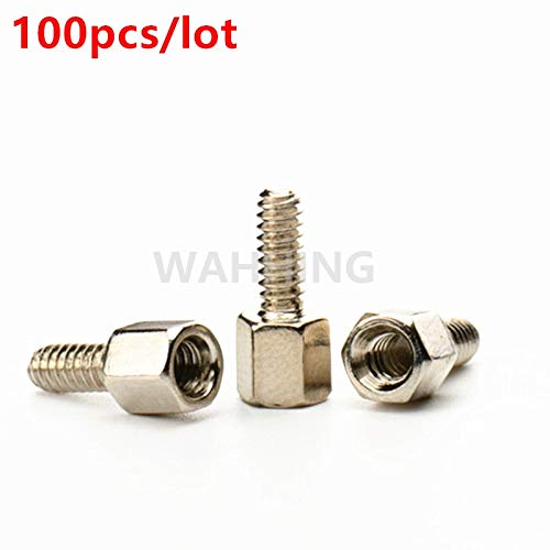 (Connectors 100pcs/lot 5+7mm Header Plate Bracket Stud Bolt Screw for D-Sub VGA Card DB9 DB15 DB25 RS232 COM Serial HY1146 - (Cable Length: 100pcs))