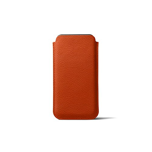 Latest Lucrin - Leather Case with Pull Tab Compatible with iPhone XR and Wireless Charging - Orange - Granulated Leather orange iphone xr case 6