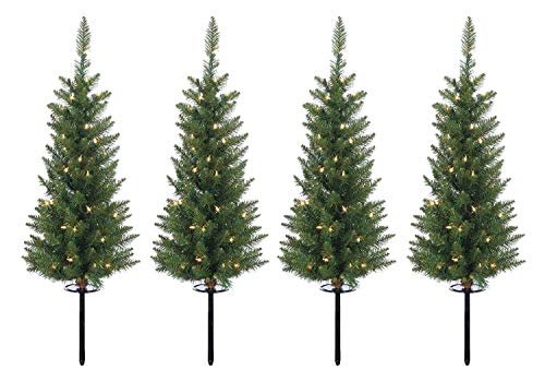 Stake Christmas Tree - Ten Waterloo Set of 4 Lighted 3 Feet High Christmas Pathway Trees with Yard Stakes - Battery Operated with Timer and Functions