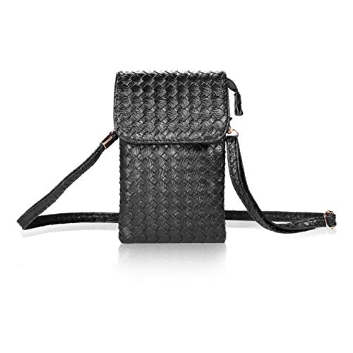 (Bosam woven leather cell phone crossbody bag small purse for iphone X 8 7 plus 5.5inch smartphones(Black))