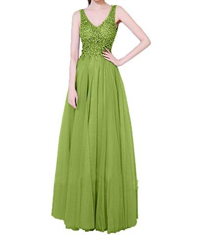 Olive Charmant Abendkleider Damen 2018 Steine V A linie Partykleider ausschnitt Gruen Ballkleider Lang Neu Festlichkleider OaSOxq