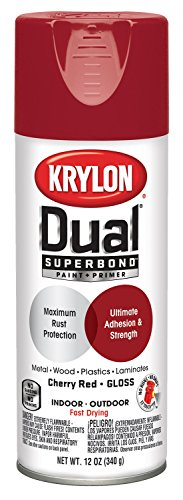 Cherry Paint - Krylon K08805007 'Dual' Superbond Paint and Primer, Gloss Cherry Red, 12 Ounce