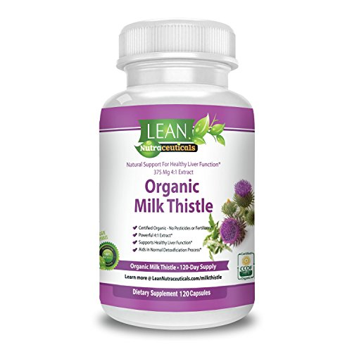 Certified Organic Milk Thistle Capsules 1500mg 4:1 Concentrated Extract is the Strongest Milk Thistle Supplement Recommended.Silymarin Excels at Liver Cleanse, Detox and Support 120 Veggie Caps