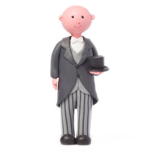 Culpitt GROOM TOP HAT BALD Claydough Cake Topper Decoration Figurine (Bald Groom)
