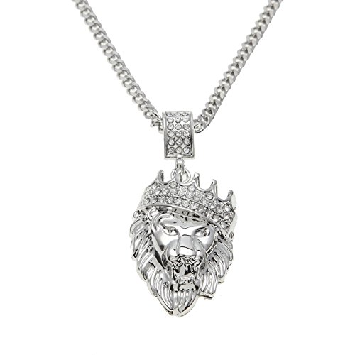 AOVR Hip Hop Cuban Link Chain 14k Gold Silver Plated CZ Crystal Fully Iced-Out Crown Lion Pendant (Silver)