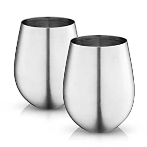 MosesMo Stainless Steel Stemless Wine Glasses 18 Oz | Unbreakable & Shatterproof Glasses For Red & White Wine, Drinks, Champagne, Cocktails & More, Choose between Matte or Glossy finish (2, Matte)