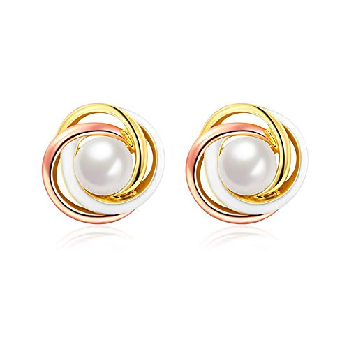 WikiMiu Women Pearl Ball Earrings, Tri-Color Surrounded Pearl Stud Earrings for OL, Party, Club, Cocktail, Festival, Giftbox